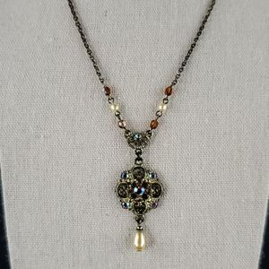 1928 Gold Toned Necklace w Gems